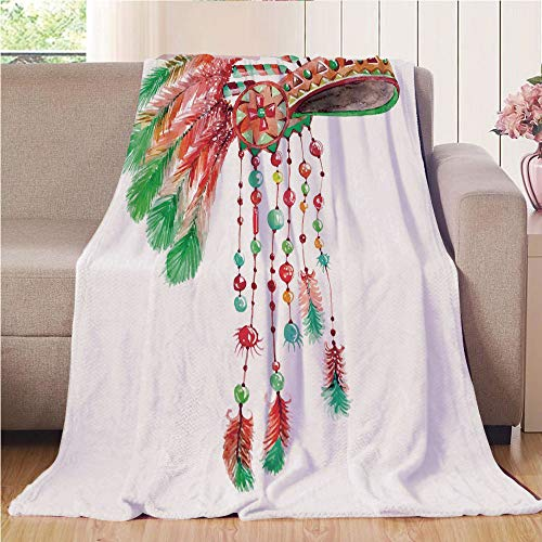 Blanket Comfort Warmth Soft Air Conditioning Easy Care Machine Wash House,Feather,Tribal Chief Costume Headdress Native American Culture Ethnicity Symbol Decorative,Vermilion Orange Green,47.25