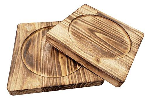 (Square Wood Underliner/Trivet for Cast Iron/Hot Dish (7