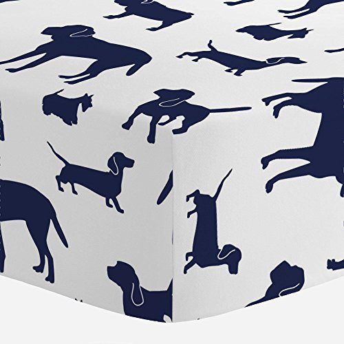 (Carousel Designs Navy Dogs Crib Sheet - Organic 100% Cotton Fitted Crib Sheet - Made in The)