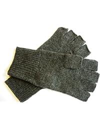 Charcoal Gray Pure 100% Cashmere Fingerless Half Finger Wrist Gloves