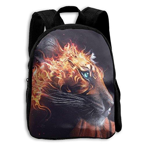 YEWEI Flaming Tiger Wallpaper Men And Women 3D Printing Wide Zipper School Travel Bag Shoulder Bag Child Backpack