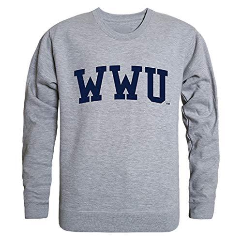 W Republic Western Washington Vikings University NCAA Men's Game Day Crewneck Fleece Sweatshirt - Medium, Heather Grey
