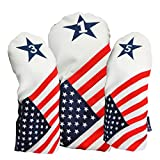 USA-1-3-5-Headcover-Patriot-Golf-Vintage-Retro-USA-Leather-Style-Patriotic-Driver-Fairway-Wood-Head-Cover