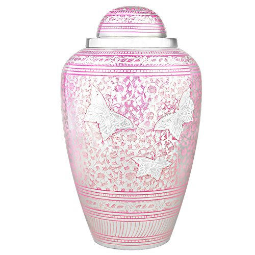 MEILINXU Cremation Urns by Funeral Urns for Human Ashes Adult Memorial -Hand Made in Brass & Hand Engraved - Display Burial Urn At Home or in Niche at Columbarium (Pink Brilliant Butterflies, Large) (Urn Pink)