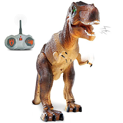 Discovery Kids Remote Control RC T Rex Dinosaur Electronic Toy Action Figure Moving & Walking Robot w/ Roaring Sounds & Chomping Mouth, Realistic Plastic Model, Boys & Girls 6 Years (Kids T-rex Dinosaur)