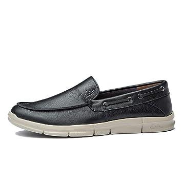 f91ae225ef43b Fuxitoggo Slip para Hombre en Zapatos para Barcos Soft Sole Non Slip  Transpirable Cómodo Zapatillas de conducción (Color   Negro