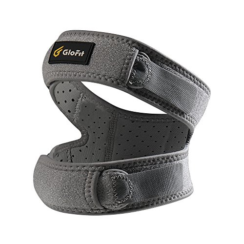 Glofit Patella Knee Strap, Knee Strap Tendonitis Support For Running,Jumper,Squats,Weight Lifting,Basketball,For Women and Men(Dual-straps(Grey)) by Glofit