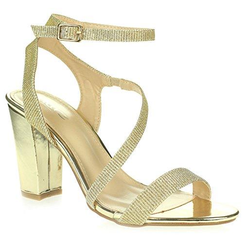 Mariage Taille Talon la Bal Diamante Chaussures Fête Dames à des Sandales Le promoHaute Enveloppe Femmes Or Bloquer Cheville Soir de wBfSgxqU