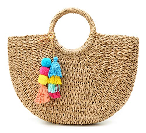 Hand-woven Straw Large Hobo Bag for Women Round Handle Ring Tote Retro Summer Beach Rattan Bag Straw Bags for Women Brown ()