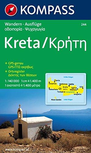 Kreta /Kriti: Ausflugs- und Wanderkarte. GPS-genau. 1:140000
