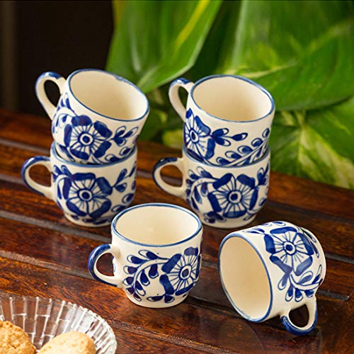 ExclusiveLane The 'Blooming Cuppas' Mughal Hand-Painted Ink Blue Ceramic Tea & Coffee Cups (Set Of 6) (Handmade and Handcrafted In India)-Dinnerware Handmade Cups Tea Coffee Mugs Glasses Tea Cups Set