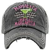 H-212-MNAM06 Distressed Baseball Cap Vintage Dad Hat - Mamacita Needs a Margarita (Black)