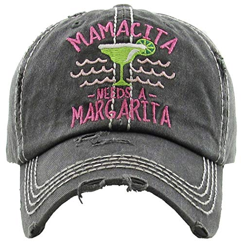 H-212-MNAM06 Distressed Baseball Cap Vintage Dad Hat - Mamacita Needs a Margarita (Black) ()