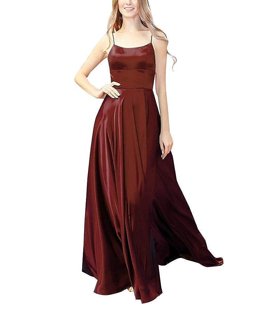 Burgundy XSWPL Womens Halter Prom Dresses Long Split ALine Spaghetti Evening Gowns with Pockets