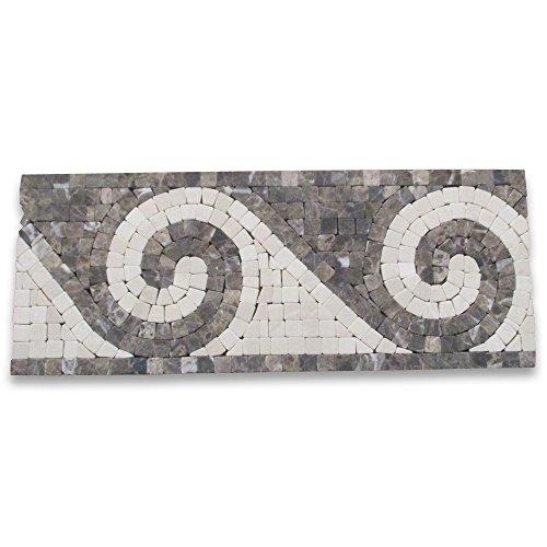 (Surf Emperador 4-3/4x12 Marble Mosaic Border Tumbled)