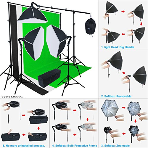 LINCO Lincostore Studio Photo Lighting 3 Backdrop Stand Muslin Kit AM131 - Morning Glory Softbox: No uninstalled -