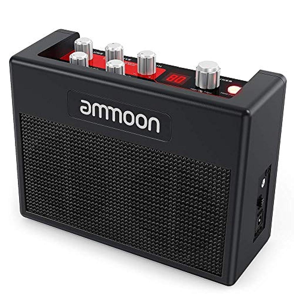 [해외] AMMOON 기타 앰프 멀티 이펙트 소형 포터블 앰프 내장 80드럼 리듬 5W 튜너 탭 템포 기능을 서포트 AUX입력 헤드폰 출력 전원 어댑터 부속 POCKAMP