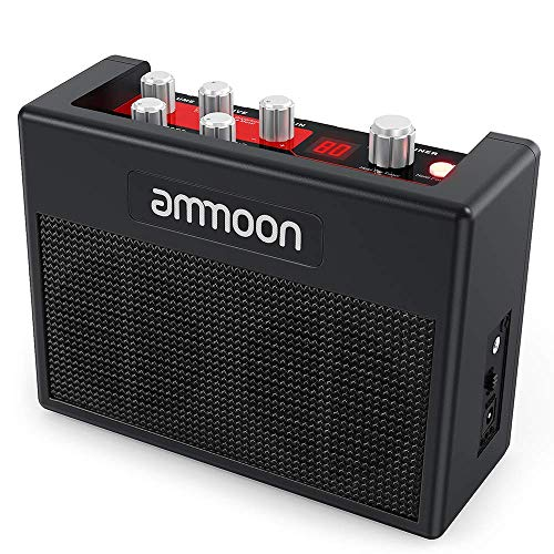 ammoon Guitar Amplifier Portable Electric Guitar Amp 5 Watt Multi Effects Pedal Built-in 80 Drum Rhythms Support Tuner Tap Tempo Functions ()