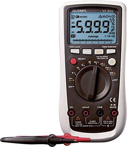 - Voltcraft Digital Multimeter VC830, AC/DC, 6000 Counts, CAT III 1000V and CAT IV 600V, Basic Accuracy 0.5%, 9V Battery Pack Power Supply, TLD Function, 750V AC Reading Range, 10A DC Reading Range