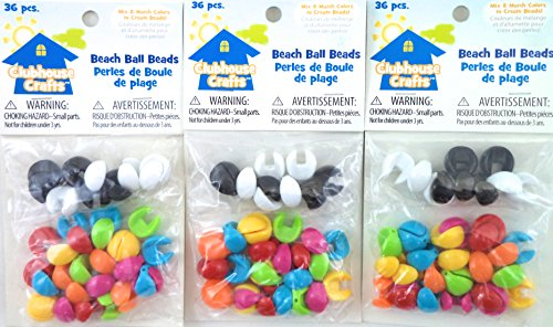 Clubhouse Crafts Bulk Buy Beach Ball Mix & Match Colors Beads, (3) Pack. ()