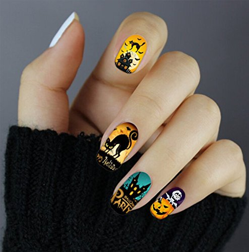 Halloween Nail Art Full Wrap Stickers Halloween luminous - QJ-Q081 Nail Sticker Tattoo - FashionDancing -