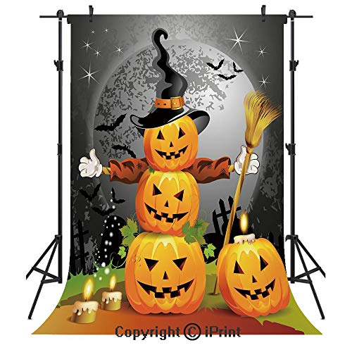 Halloween Photography Backdrops,Cute Pumpkins Funny Composition Traditional Celebration Witches Hat Broomstick,Birthday Party Seamless Photo Studio Booth Background Banner 6x9ft,Multicolor -