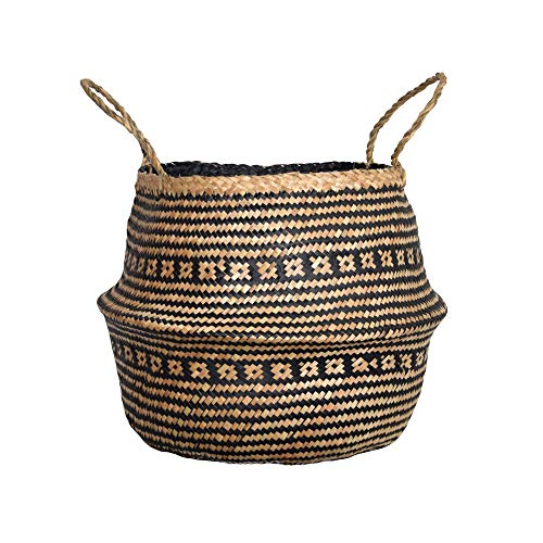 DUFMOD Medium Natural and Plush Woven Seagrass Tote Belly Basket for Storage, Laundry, Picnic, Plant Pot Cover, and Beach Bag (Plush Criss-Cross Seagrass Black, Medium) (Kindling For Good Fireplace)