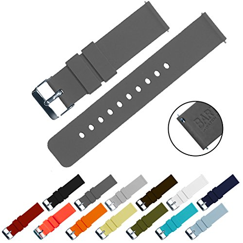 BARTON Quick Release - Choose Color & Width (16mm, 18mm, 20mm, 22mm) - Smoke Grey 18mm Watch Band Strap