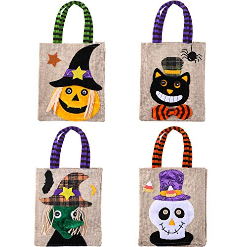 Tatuo 4 Pieces Halloween Candy Bags Trick or Treat Candy Tote Bags Cartoon Pumpkin Bag for Kids Halloween Themed Party Gift Favor, 4 -