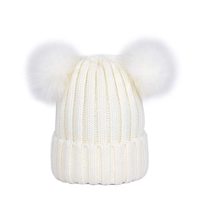Lau s Berretti invernali da donna cappelli in maglia berretto a coste con  doppio pompon in pelliccia c537e375a341