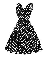 ROOSEY Women's Polka Dot Retro Party Dress V Neck Sleeveless Vintage Tea Dress