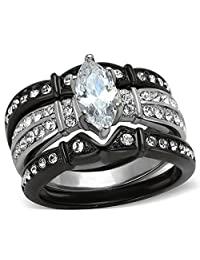 2.5 Ct Marquise Cut Zirconia Black Stainless Steel Wedding Ring Set Women's Size 5-10