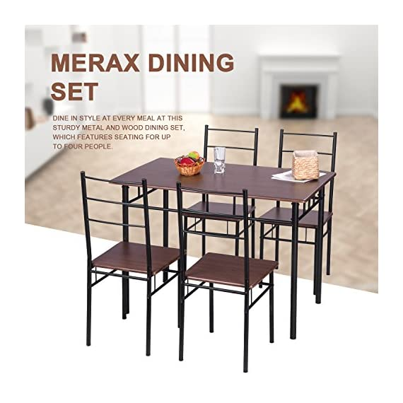 Merax 5 Pcs Wood and Metal Dining Set Table and 4 Chairs Home Kitchen Modern FurniturexFF08;EspressoxFF09; - Perfect for a breakfast nook or small dining space Set of 4 chairs and a matching table which is both functional and eye-catching Constructed of engineered wood and metal for sturdiness and strength - kitchen-dining-room-furniture, kitchen-dining-room, dining-sets - 51 c6fX9DVL. SS570  -
