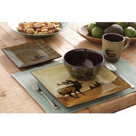 Roaming Elk 16-Piece Square Dinnerware Set<br>Better Homes and Gardens