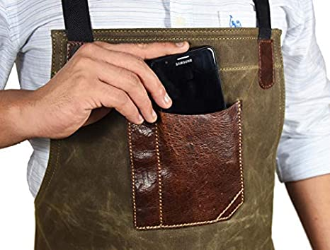 One Size Fits Utility Apron Canvas - Green Adjustable Cross-Back Straps Multi-Use Shop Apron With Tool Pockets By Aaron Leather