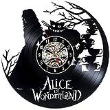 Alice in Wonderland Theme Black Vinyl Wall Clock Gift For Sale