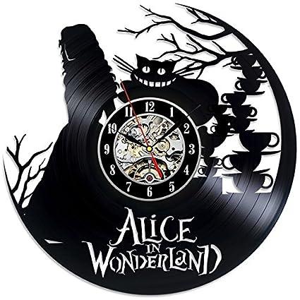 Alicia en el país de las maravillas tema reloj de pared de vinilo negro regalo