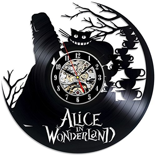 Alice in Wonderland Theme Black Vinyl Wall Clock Gift For Sale