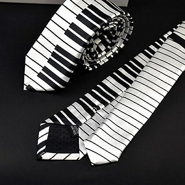 Xuniu Hombres Piano Teclado Corbata Corbata clásico Delgado Flaco ...