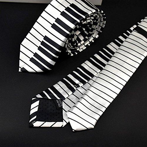 LANDUM Men's Black & White Piano Keyboard Necktie Tie Classic Slim Skinny Music Tie