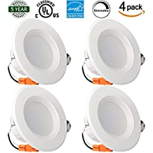 Enegitech 4 Inch Dimmable LED Downlight, Energy Star, UL Listed, 9W (65W Equivalent), 720LM, 4000K Daylight White, Retrofit LED Recessed Lighting Fixture, Can Lights for Ceiling Retrofit LED 4 Pack