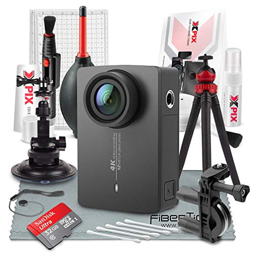 YI 4K Action and Sports Camera with EIS, Live Stream, Voice Control (Black) and 32GB Card Travel Photo Deluxe Accessory Bundle