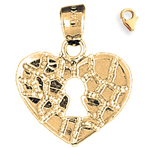 Jewels Obsession Nugget Heart Padlock | 14K Yellow Gold Nugget Heart Padlock, Lock Charm Pendant - 21mm