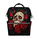 Diaper Bags Backpack Purse Mummy Backpack Fashion Mummy Maternity Nappy Bag Cool Cute Travel Backpack Laptop Backpack with Skull And Red Roses Pattern Daypack for Women Girls Kids