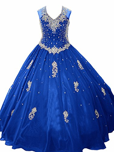 WZY Girls Ball Gown Sparking Crystal Beading Birthday Party Dress 12 US Royal Blue by WZY
