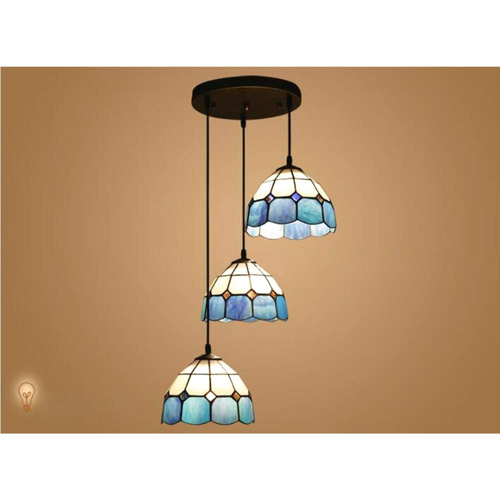 CCSUN Estilo tiffany Iluminación techo, Mini Luz pendiente Vidrio pantalla de lámpara E27 3-luce Comedor Lámpara de araña Luminarias de techo-desct: ...