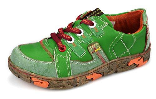 TMA Damen Leder Freizeit Schuhe Echtleder Comfort Halbschuhe 4181 Grün e797a461e0