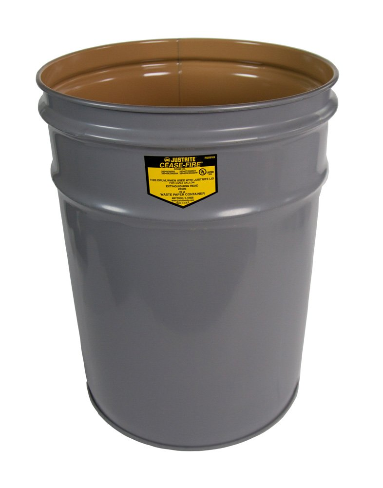 Justrite 26040 Cease-Fire Steel Drum, 4.5 Gallon Capacity, 11-7/8'' OD x 13-1/4'' Height, Gray