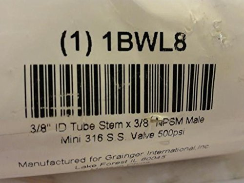 1BWL8 Ball Valve 3//8 In Tube x 3//8 In NPSM SS MFG
