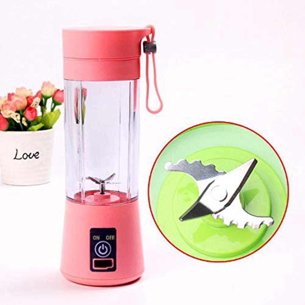 Yongqxxkj - Batidora portátil para frutas, extractor de frutas eléctrico, recargable por USB, con 4 aspas, extractor de zumo de frutas, rosa: Amazon.es: Deportes y aire libre